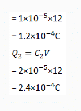 charges across the each capacitor