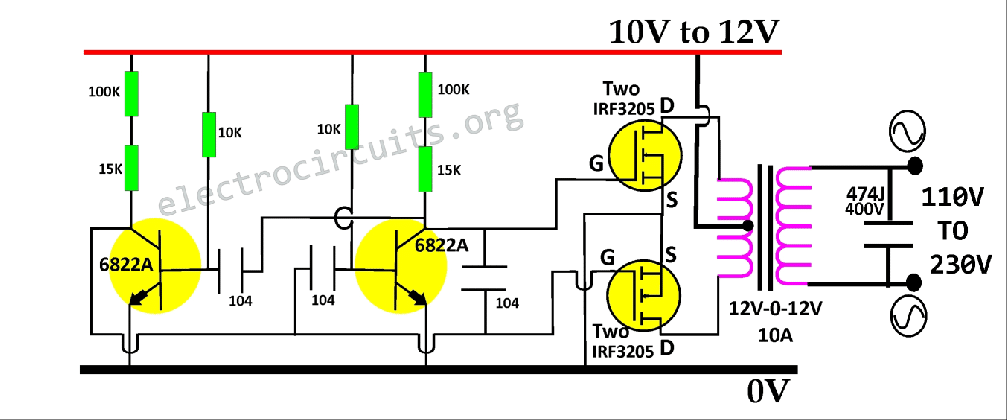 simple power inverter circuit 100W to 1000W