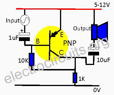 PNP transistor acting as an audio amplifier