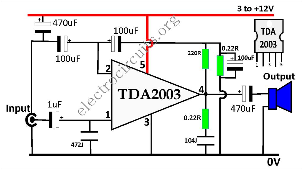 TDA2003 Amplifier Circuit Diagram