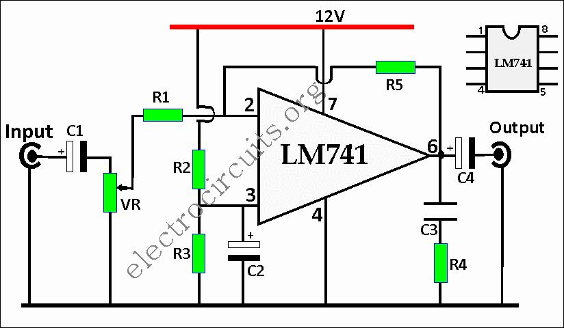 741 Op Amp Preamplifier Circuit