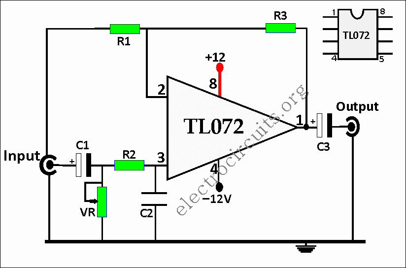 TL072 Op Amp Preamplifier Circuit