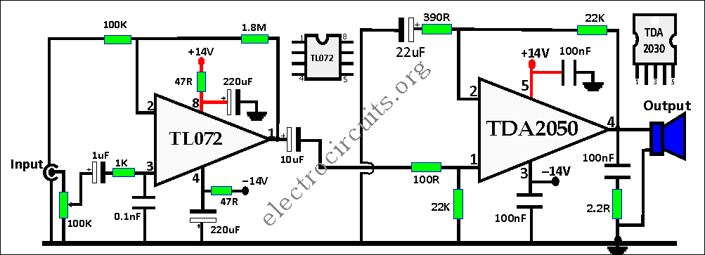 TDA2050 Amplifier Circuit Diagram